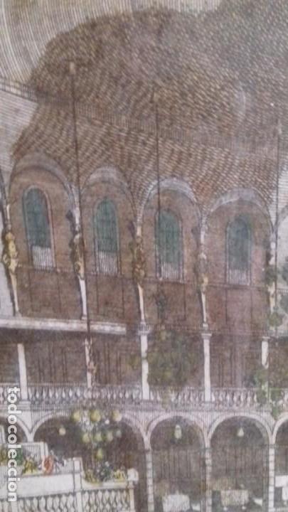 Arte: Vue Optic, grabado original a mano. Vista interior de un café en una plaza pública de Londres 1750 - Foto 5 - 142943798