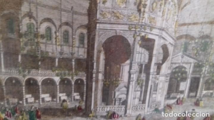 Arte: Vue Optic, grabado original a mano. Vista interior de un café en una plaza pública de Londres 1750 - Foto 6 - 142943798