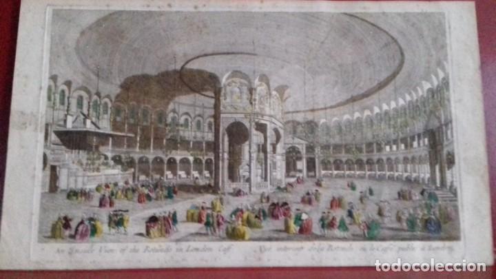 Arte: Vue Optic, grabado original a mano. Vista interior de un café en una plaza pública de Londres 1750 - Foto 7 - 142943798