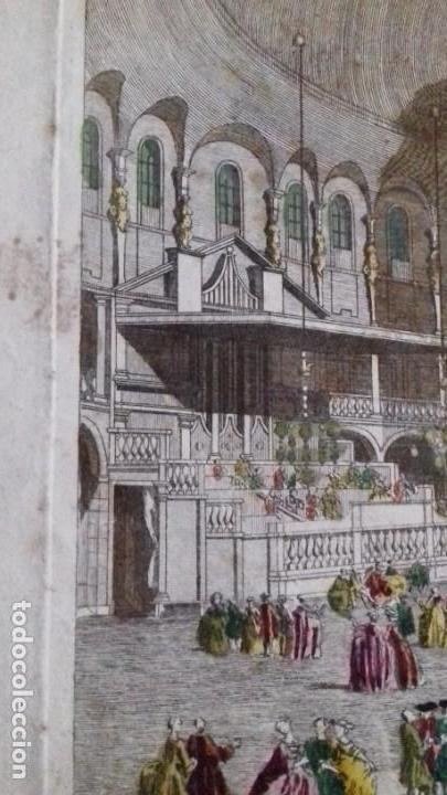 Arte: Vue Optic, grabado original a mano. Vista interior de un café en una plaza pública de Londres 1750 - Foto 8 - 142943798