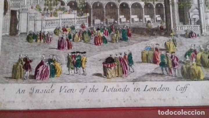 Arte: Vue Optic, grabado original a mano. Vista interior de un café en una plaza pública de Londres 1750 - Foto 10 - 142943798