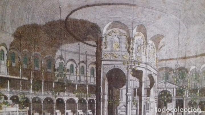 Arte: Vue Optic, grabado original a mano. Vista interior de un café en una plaza pública de Londres 1750 - Foto 13 - 142943798