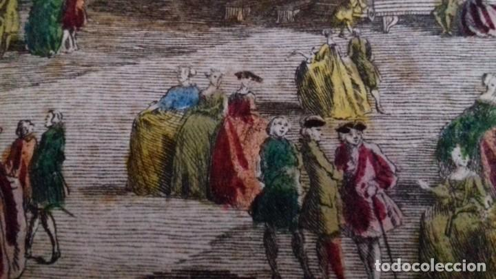 Arte: Vue Optic, grabado original a mano. Vista interior de un café en una plaza pública de Londres 1750 - Foto 15 - 142943798