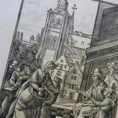 Arte: GRABADO CHRISTOFFLE VAN SICHEM - SIGLO XVII - 2 LADOS (CABEZA EN LA BOLSA Y JOSEF SE PRESENTÓ). Lote 142949736