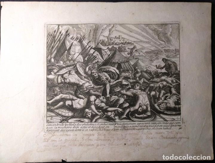 Arte: Libro de los Jueces. Sansón abrasa los campos de los filisteos. Grabado h. 1600. Bélico. - Foto 2 - 143093778