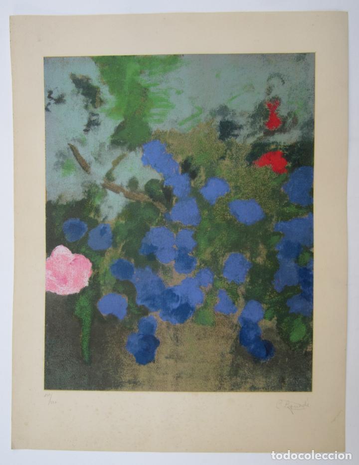 CARME AGUADÉ, GRABADO, FLORES. 50X65,5CM (Arte - Grabados - Contemporáneos siglo XX)