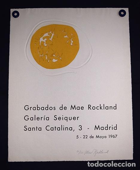 CARTEL MAE ROCKLAND - GALERÍA SEIQUER. FIRMADO A LÁPIZ Y NUMERADO 12/30 - 1967 (Arte - Grabados - Contemporáneos siglo XX)