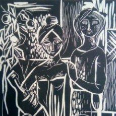 Arte: LINÓLEO FIRMADO A LÁPIZ, MARÍA ROSA NIN DÍAZ. PINTORA Y CERAMISTA NACIDA EN SABADELL EN 1933.. Lote 143351732