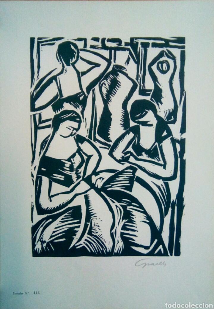 LINÓLEO FIRMADO A LÁPIZ, DAVID GRAELLS MONTULL. PINTOR Y DIBUJANTE NACIDO EN SABADELL EN 1910. (Arte - Grabados - Contemporáneos siglo XX)