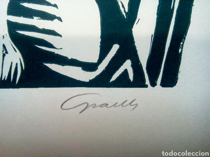 Arte: Linóleo firmado a lápiz, David Graells Montull. Pintor y dibujante nacido en Sabadell en 1910. - Foto 2 - 143351804
