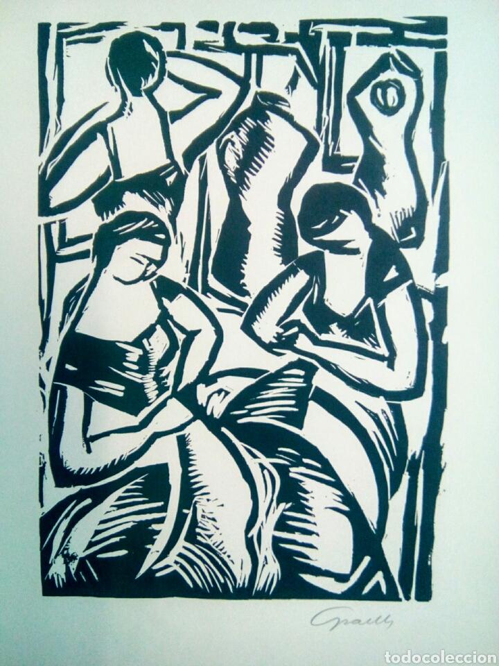 Arte: Linóleo firmado a lápiz, David Graells Montull. Pintor y dibujante nacido en Sabadell en 1910. - Foto 3 - 143351804