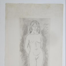 Arte: GRABADO, MUJER DESNUDA, FIRMA ILEGIBLE. 35X70CM. Lote 143579034