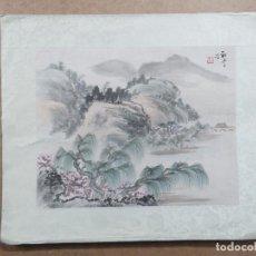 Arte: PRECIOSA ACUARELA A COLOR DE ORIGEN JAPONES FIRMADA Y CON BORDES EN SEDA, DATA DE LOS AÑOS 20. Lote 143735930