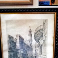 Arte: CUADRO CON ANTIGUO GRABADO - MOSQUE OF SULTAN BARKOOK AND FOUNTAIN OF ISMAIL PASHA - DIBUJO POR. Lote 143760938