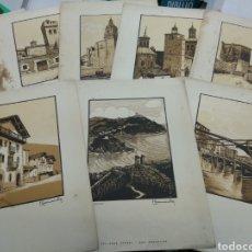 Arte: 8 GRABADOS PAIS VASCO PEDRO DE GARMENDIA GOYETCHE TALLERES OFFSET SAN SEBASTIAN AÑOS 30 BASQUE. Lote 143794014