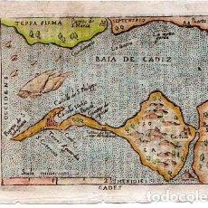 Arte: ESPAÑA. CADIZ. A. ORTELIUS. GADES. 1655. ORIGINAL. GRABADO EN COBRE. MEDIDAS : 7.5 X 10.5 CM.. Lote 144435950