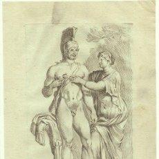 Arte: GRABADO AL AGUAFUERTE ORIGINAL DE FRANCOIS PERRIER (C.1590-C.1650) FAUSTINA CON UN GLADIADOR DE 1640. Lote 144458898
