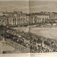 Arte: MURCIA - OVACION AL REY ALFONSO XII A SU REGRESO DE UNA EXCURSION POR LA HUERTA (1879). Lote 144596654