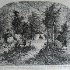 Arte: RETUERTA (CIUDAD REAL) CAMPAMENTO EN POSTUERO DE LAS CRUCES (MONTES DE TOLEDO)(1883). Lote 144598406