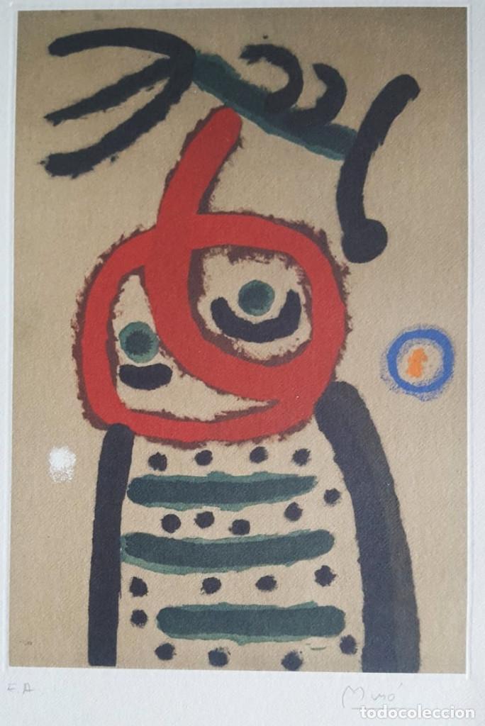 JOAN MIRÓ GRABADO ORIGINAL FIRMADO A LAPIZ,E.A.,FEMME ET OISEAU,29.5X20 CMS (Art - Engravings - Contemporary Engravings XX century)