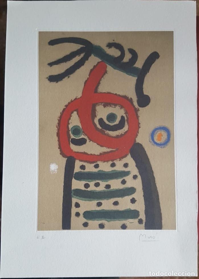 Art: JOAN MIRÓ GRABADO ORIGINAL FIRMADO A LAPIZ,E.A.,Femme et oiseau,29.5x20 CMS - Foto 2 - 146866394