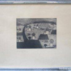 Arte: CONCHA IBÁÑEZ (1926), GRABADO, CAMPO Y MOLINOS, TIRAJE 25 / 75, DEDICADO Y ENMARCADO. 54,5X71,5CM. Lote 145338206
