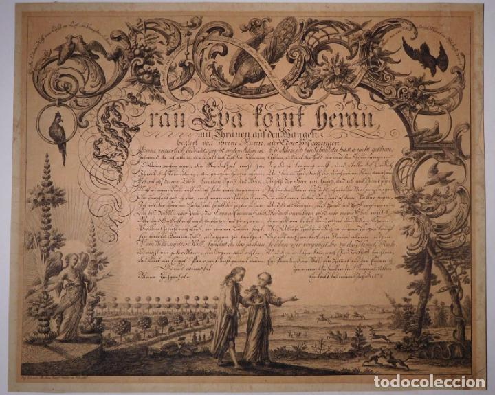 PRECIOSO GRABADO AL AGUAFUERTE DE ADAN Y EVA POR HEINRICH HUGO COENTGEN (1727-1792)ALREDEDOR DE 1770 (Arte - Grabados - Antiguos hasta el siglo XVIII)
