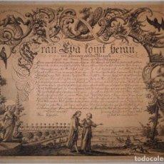Arte: PRECIOSO GRABADO AL AGUAFUERTE DE ADAN Y EVA POR HEINRICH HUGO COENTGEN (1727-1792)ALREDEDOR DE 1770. Lote 145522162
