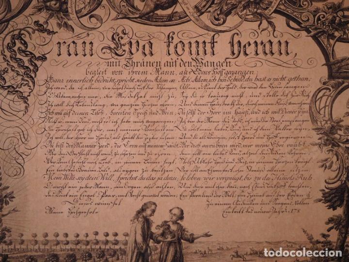 Arte: PRECIOSO GRABADO AL AGUAFUERTE DE ADAN Y EVA POR HEINRICH HUGO COENTGEN (1727-1792)ALREDEDOR DE 1770 - Foto 2 - 145522162