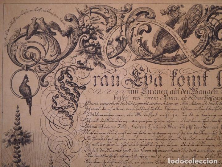 Arte: PRECIOSO GRABADO AL AGUAFUERTE DE ADAN Y EVA POR HEINRICH HUGO COENTGEN (1727-1792)ALREDEDOR DE 1770 - Foto 3 - 145522162