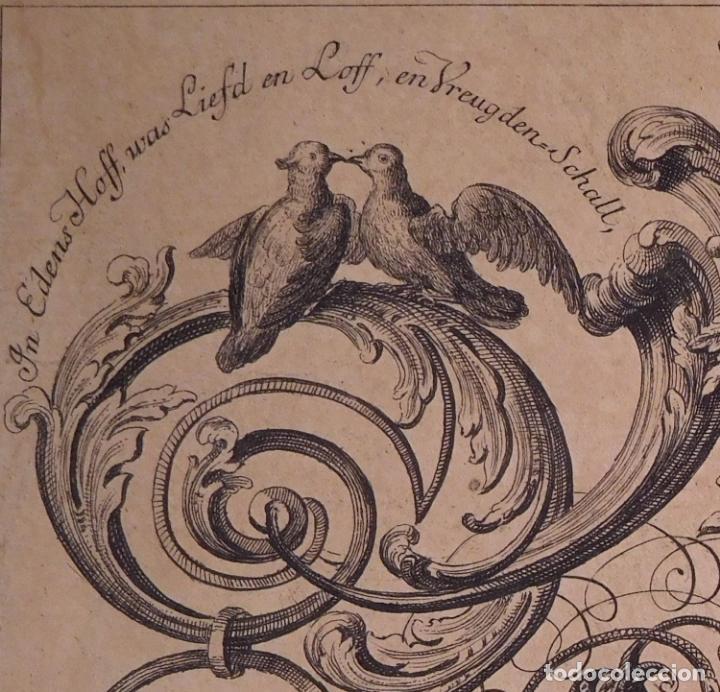 Arte: PRECIOSO GRABADO AL AGUAFUERTE DE ADAN Y EVA POR HEINRICH HUGO COENTGEN (1727-1792)ALREDEDOR DE 1770 - Foto 7 - 145522162