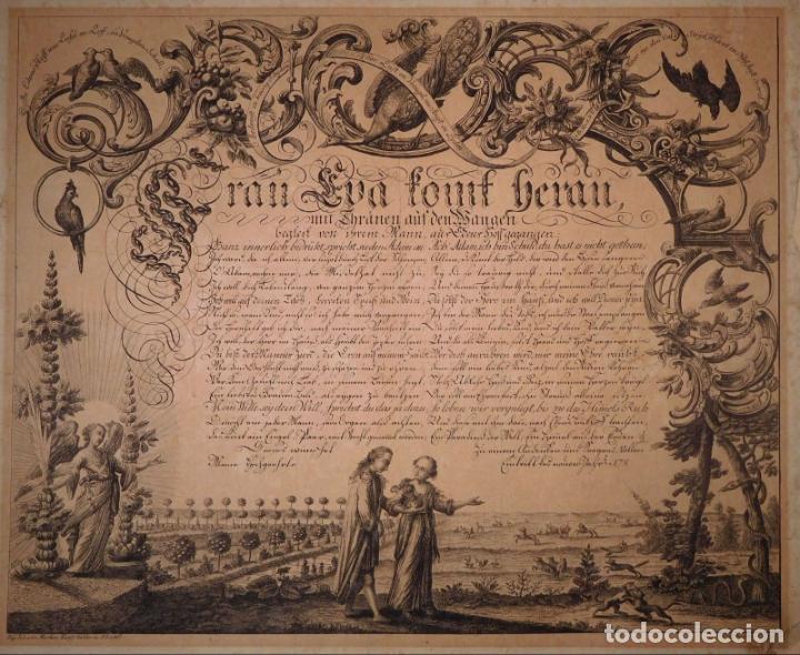 Arte: PRECIOSO GRABADO AL AGUAFUERTE DE ADAN Y EVA POR HEINRICH HUGO COENTGEN (1727-1792)ALREDEDOR DE 1770 - Foto 8 - 145522162
