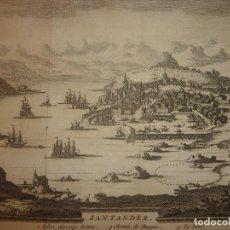 Arte: GRABADO VISTA SANTANDER, CANTABRIA, ORIGINAL,1715, VAN DER AA,ESPLÉNDIDO. Lote 146160010