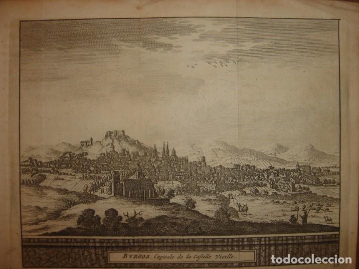 Arte: GRABADO VISTA BURGOS, CASTILLA LA VIEJA, ORIGINAL,1715, VAN DER AA,ESPLÉNDIDO - Foto 3 - 146160222