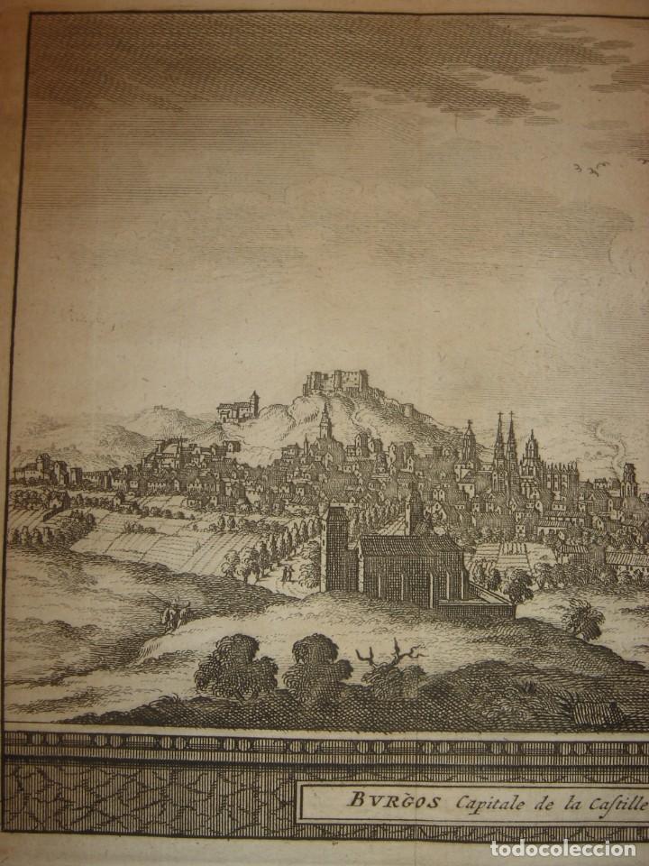 Arte: GRABADO VISTA BURGOS, CASTILLA LA VIEJA, ORIGINAL,1715, VAN DER AA,ESPLÉNDIDO - Foto 4 - 146160222