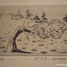 Arte: ¡¡OFERTA!! PINSAPAR - PUNTA SECA DE BURASU (BLAS CANO) DE PEQUEÑO FORMATO EN GRIS PAYNE 8X11,5 CM. Lote 146274674