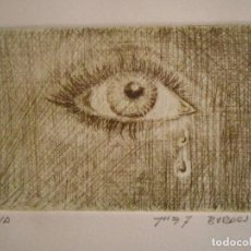 Arte: ¡¡OFERTA!! MIRADA - GRABADO DE BURASU (BLAS CANO) PEQUEÑO FORMATO EN VERDE OLIVA 7,5X12 CM. Lote 146278970