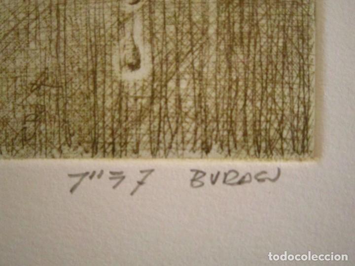 Arte: ¡¡OFERTA!! Mirada - Grabado de Burasu (Blas Cano) Pequeño formato en Verde Oliva 7,5x12 cm - Foto 2 - 146278970