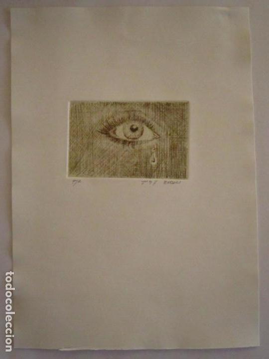 Arte: ¡¡OFERTA!! Mirada - Grabado de Burasu (Blas Cano) Pequeño formato en Verde Oliva 7,5x12 cm - Foto 3 - 146278970