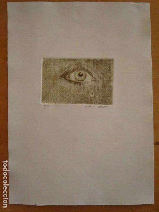 Arte: ¡¡OFERTA!! Mirada - Grabado de Burasu (Blas Cano) Pequeño formato en Verde Oliva 7,5x12 cm - Foto 5 - 146278970