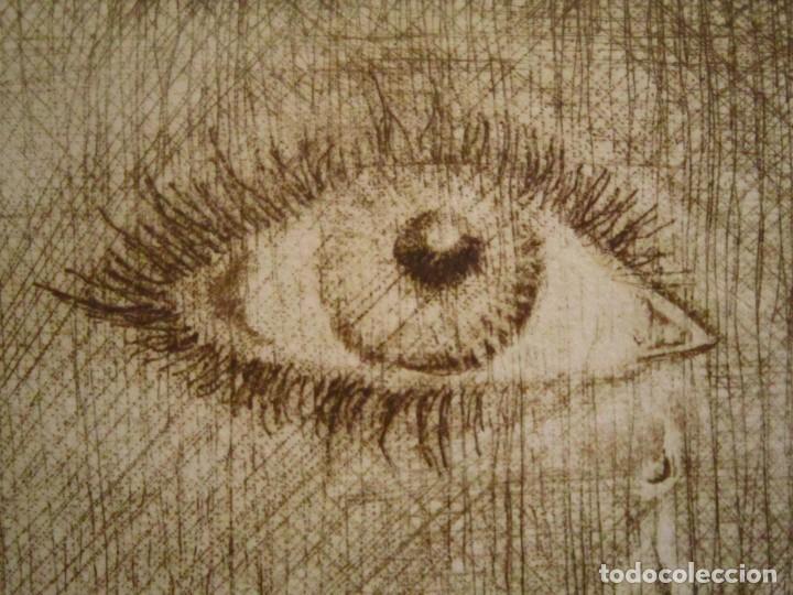 Arte: ¡¡OFERTA!! Mirada - Grabado de Burasu (Blas Cano) Pequeño formato en Verde Oliva 7,5x12 cm - Foto 6 - 146278970