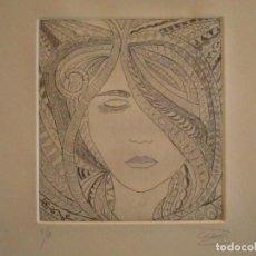 Arte: ¡¡OFERTA!! ROSTRO DE MUJER - DELICADA PUNTA SECA DE CALDERÓN 12,5X13,5 CM. Lote 146281802