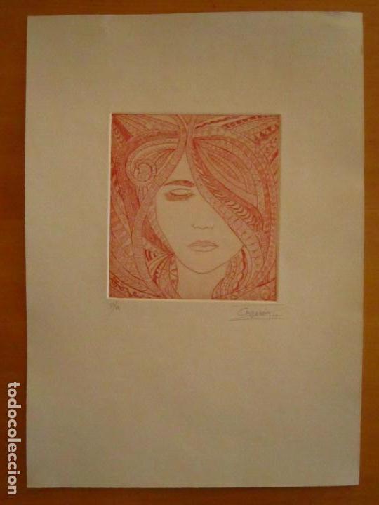 Arte: ¡¡OFERTA!! Rostro de mujer - Delicada punta seca de Calderón - 12,5x13,5 cm - Foto 2 - 146283498