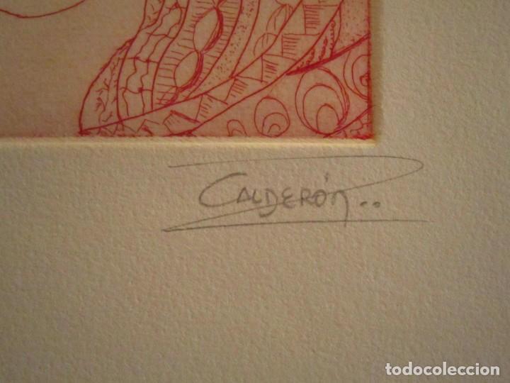 Arte: ¡¡OFERTA!! Rostro de mujer - Delicada punta seca de Calderón - 12,5x13,5 cm - Foto 3 - 146283498