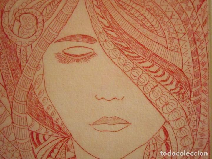 Arte: ¡¡OFERTA!! Rostro de mujer - Delicada punta seca de Calderón - 12,5x13,5 cm - Foto 4 - 146283498