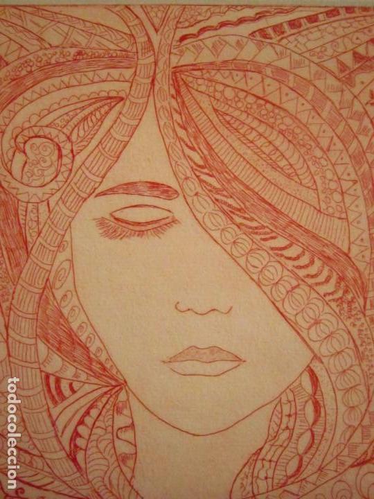 Arte: ¡¡OFERTA!! Rostro de mujer - Delicada punta seca de Calderón - 12,5x13,5 cm - Foto 6 - 146283498