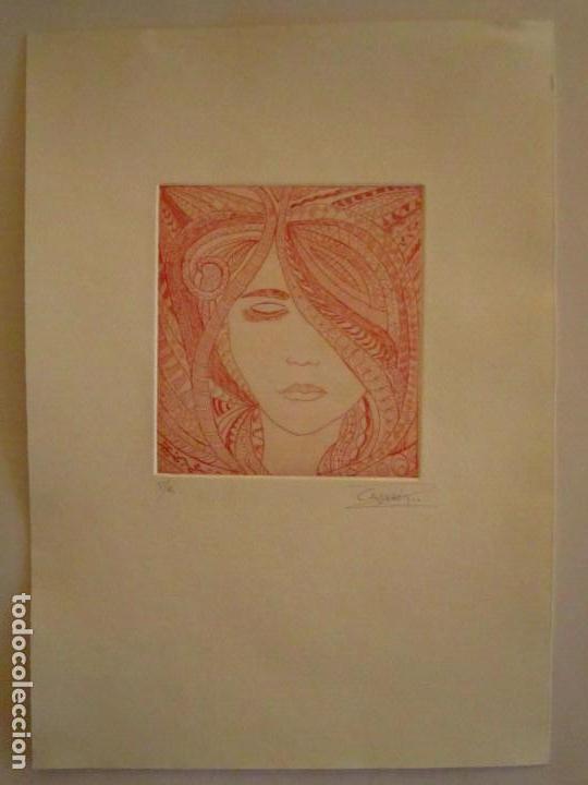 Arte: ¡¡OFERTA!! Rostro de mujer - Delicada punta seca de Calderón - 12,5x13,5 cm - Foto 5 - 146283498