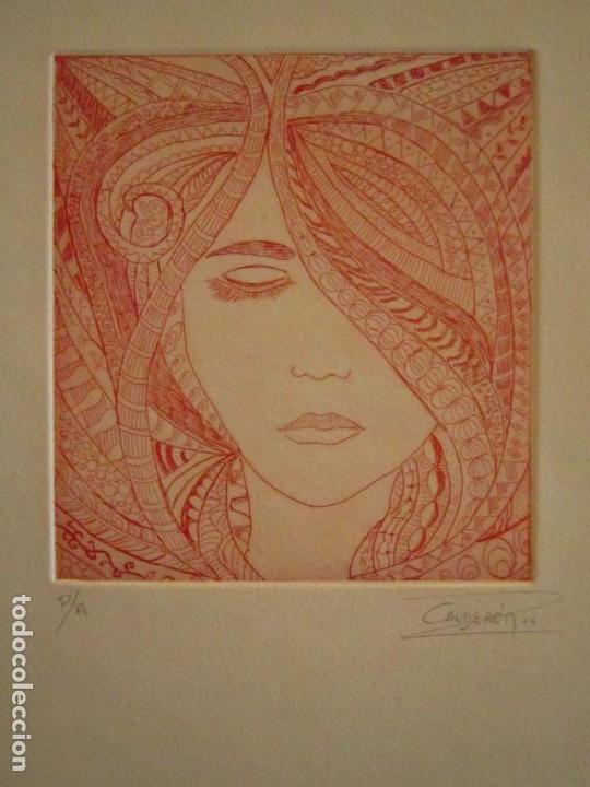 ¡¡OFERTA!! ROSTRO DE MUJER - DELICADA PUNTA SECA DE CALDERÓN - 12,5X13,5 CM (Arte - Grabados - Contemporáneos siglo XX)