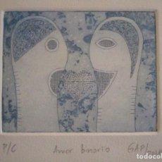Arte: ¡¡OFERTA!! AMOR BINARIO - GRABADO DE GAP (GUILLERMO ANTÓN PARDO) - COLOR AZUL 10X8 CM. Lote 146284586