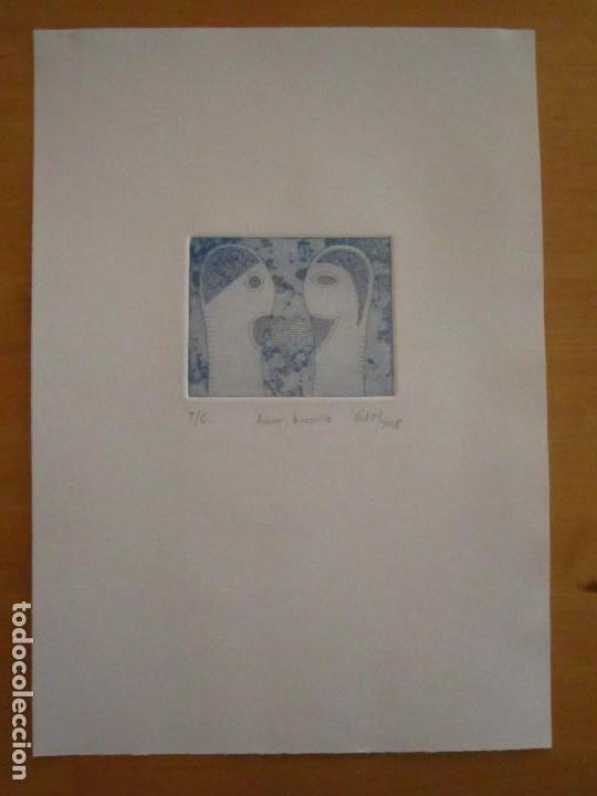 Arte: ¡¡OFERTA!! Amor binario - Grabado de GAP (Guillermo Antón Pardo) - Color Azul 10x8 cm - Foto 2 - 146284586